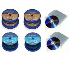 100 CD -R VERBATIM  52X 700 MB  E 100 DVD -R 16Xd Azo dvd  4.7GB 200 bustine