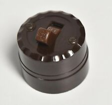 VINTAGE GE BROWN BAKELITE PLASTIC  WALL MOUNT LIGHT SWITCH ARCHITECTURAL SALVAGE