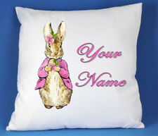 Personalised Girls Pink Peter Rabbit White silk/satin Cushion Cover Bedroom Gift