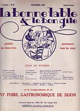 La bonne table et le bon gîte ! N°25 ! Déc 1926 ! Revue culinaire ancienne R1