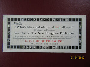 """Antique Black & White """"E.F. Houghton & Company"""" Riddle Card  (Ink blotter)"""
