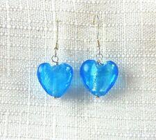 Heart Shape Blue Crystal 925 Sterling Silver Dangle Fishhook Earrings