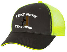 Cap Hat Embroider Gray Neon Yellow Mesh Personalized Hound Dog Coon Hunter Plott