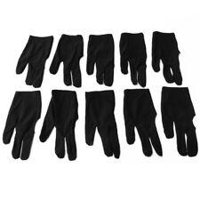 10Pcs Black Nylon Snooker Billiard Cue Glove Pool Right Left Hand Thre ZVJ OBY