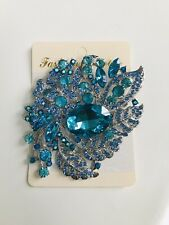 Large Turquoise Brooch Crystal Diamante Hijab Scarf Pin Party Wedding UK SELLER