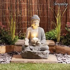Buddha Garden Fountain LED Water Feature Self Contained Ornament by Serenity