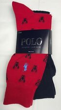 Polo Ralph Lauren Mens Socks 2 Pairs Red Navy Lobsters Cotton Blend NEW