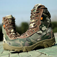 Mens Tactical Combat Hiking  Camo Waterproof Hunting Outdoor Ankle Boots Shoes