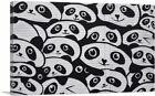 ARTCANVAS Giant Panda Graffiti China Black White Canvas Art Print