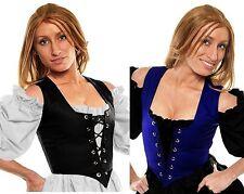 RENAISSANCE DRESS-UP COSTUME MEDIEVAL BELLE PEASANT WENCH CORSET BODICE TOP #RLM