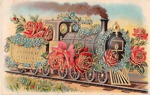 1909 Birthday Postcard of Train Carrying Beautiful Roses & Forget-Me-Nots
