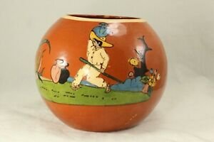 "Gorgeous Vintage Tlaquepaque 5⅛"" Terra Cotta Ball Vase - Mexican Art Pottery"