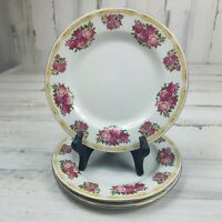 3 Farberware Sydney Roses Salad Luncheon Plates 4092 Red Pink Roses