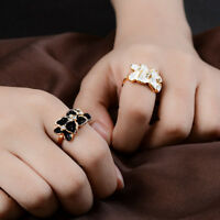 New Hot Women Flower Crystal Gold Plated Lady  Cute Ring Size 6 7 8 Gift Jewelry