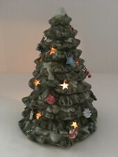 Ceramic Votive Tealight Holder Green Christmas Tree w/Hanging Charm Ornaments
