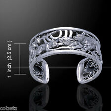 WOLF BANGLE .925 STERLING SILVER  NATIVE AMERICAN.  WOLVES by Peter Stone