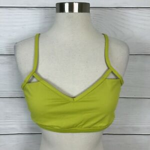 Lululemon Seek The Heat Sports Bra Size 12 Almost Pear Lime Green Lattice