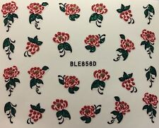 Nail Art 3D Decal Stickers Glittery Red Flowers with Green Leaves BLE856D