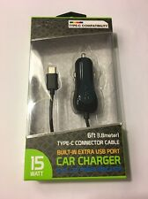 CELLET High Powered Car Charger For USB Type C Devices, 3A, 5 Ft Cord, Black