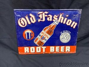 Antique Old Fashion Root Beer Metal Tin Advertising Sign