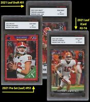 3 LOT TREVOR LAWRENCE 2021 PRO SET/LEAF DRAFT/iCARD 1ST GRADED 10 ROOKIE CARD RC