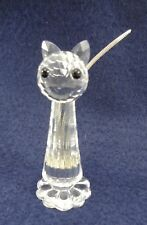"Swarovski Crystal Standing Cat 3"" Signed Black Eyes & Silver Tail Missing Nose"