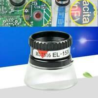 Portable 15X Monocular Magnifying Glass Loupe Lens Eye Magnifier Jeweler Black