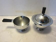 Art Deco Chase Chrome Sugar & cream bowl set Black Bakelite Handles 1930s vtg