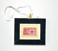 Clara Barton Red Cross Founder Velvet Framed USA Stamp Christmas Tree Ornament