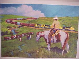 """Railroad Art,Winfield,""""Santa Fe thru the Flint Hills(KS)"""",18X24""""s/n(0441)"""