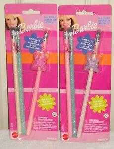 #9897 NRFC Vintage 1999 Mattel Pentech Barbie No. 2 Pencils w/ Free Hair Clip