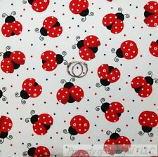 BonEful Fabric FQ Cotton Quilt White Black B&W Red Ladybug Polka Dot Large Small