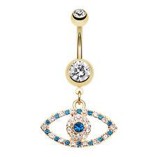 Golden Trinket Evil Eye Belly Navel Button Ring Clear/Capri Blue 14G