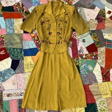 Vintage 1940s Green Chartreuse Rayon Dress Set Floral Sequins & Beading Suit