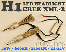 H1 LED CREE XML-2 40W 6000K 2400LM Car White Head Light Lamp Kit Globes Bulbs