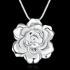 Rose Flower 925 Sterling Silver Pendant Necklace Choker Women Girlfriend Gift