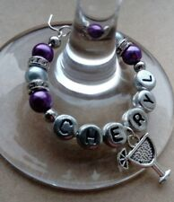 """Personalised """"Cocktail Glass"""" Wine Glass Charm, Handmade with Rondelle's"""