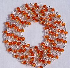 5 Feet Beautiful Carnelian Hydro Silver Plated Vermeil Rosary Chain For Sale Lot