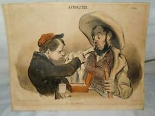 ANTIQUE HAND COLORED FRENCH CARICATURE ENGRAVING ACTUALITES BY CHEZ AUBERT