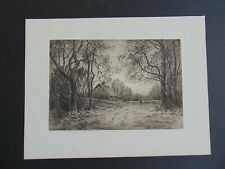 c.1883 ANTIQUE ETCHING by HENRY FARRER - WINTER EVENING
