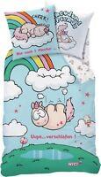 NICI Theodor & Friends Einhorn Bettwäsche UUPS 135/200 + 80/80 cm 100% Baumwolle