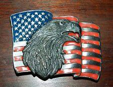 SISKIYOU Vintage American Eagle & Flag Metal Belt Buckle - Made in USA  1990