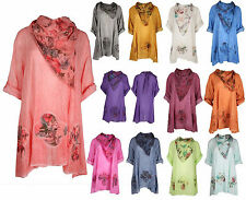 Plus Size Women Italian Lagenlook Quirky Floral Tunic Cotton Summer Dress Shirt