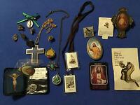 Vintage 20 Pc Religious Medal Necklace Pin Tac Button St Relic Lot Prayer Shrine