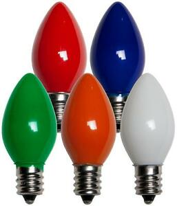 Box of 25 C7 Solid Multicolor Frosted Opaque Indoor/Outdoor Christmas Bulbs