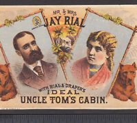 Uncle Tom's Cabin 1880's Mr & Mrs Jay Rial Drapper Hound Advertising Trade Card