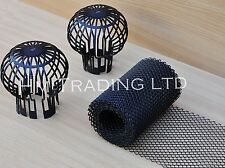 2pc Downpipe Filter / 5m Gutter Mesh Stop Leaf Drain Roof Gaurd Cover Rain Water