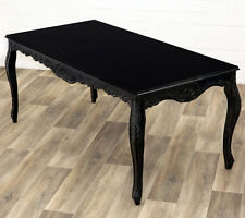 BAROCK ESSTISCH, BLACK DINING TABLE ca.180cm MASSIVHOLZ ESSZIMMER TISCH schwarz
