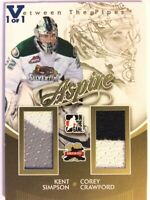 2011-12 Between The Pipes Aspire Gold Kent Simpson Corey Crawford Vault Blue 1/1