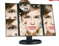 tactile miroir Table pliant réglable LED22 lumière maquillage 1X/2X/3X/10X zoom